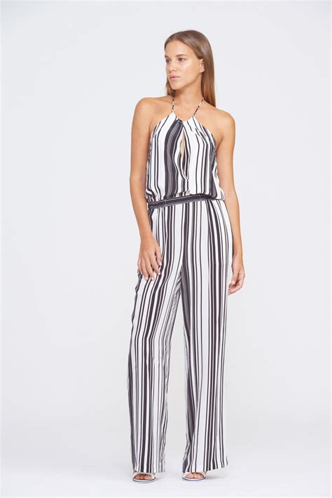 black and white pattern romper shorts pants suboo black white stripe halter jumpsuit