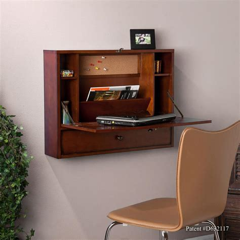 Wall Computer Desk Sei Wall Mount Laptop Desk Brown Mahogany Home Office Desks