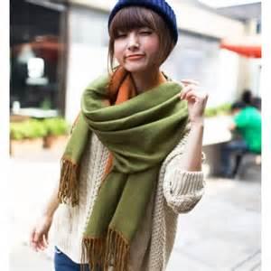 Pashmina Instan Felicia 2 Tone two tone tasseled pashmina wrap scarf 2389