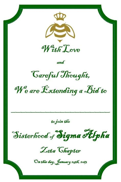 sorority bid card template 118 best images about sigma alpha graphics on