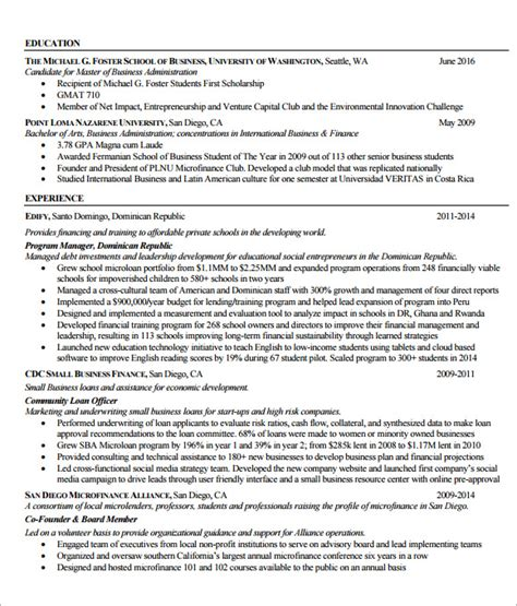 Mba Resume Exles by Mba Resume Templates 6 Free Documents In Pdf Psd