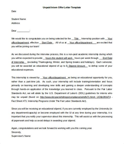 Offer Letters For Interns 31 offer letter templates free word pdf format