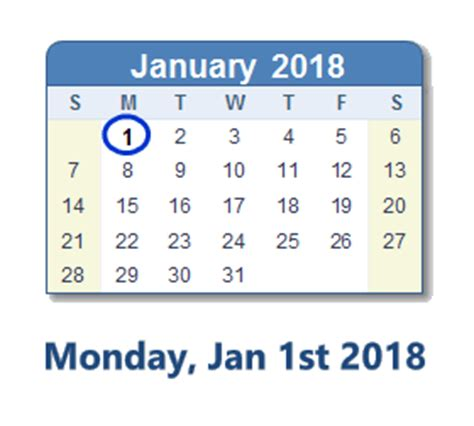 January 1 2018 Calendar January 1 2018 Calendar With Info And Count