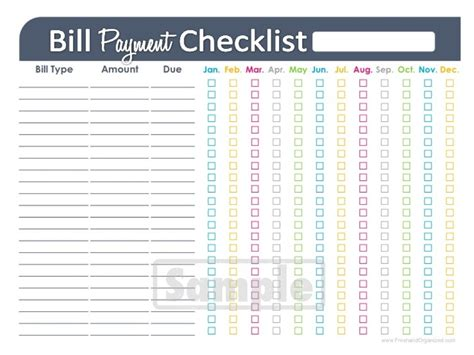 budget list for bills template bill payment checklist printable editable personal