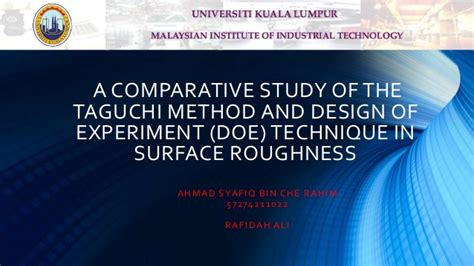 design of experiment using taguchi approach design of experiment doe taguchi method and full
