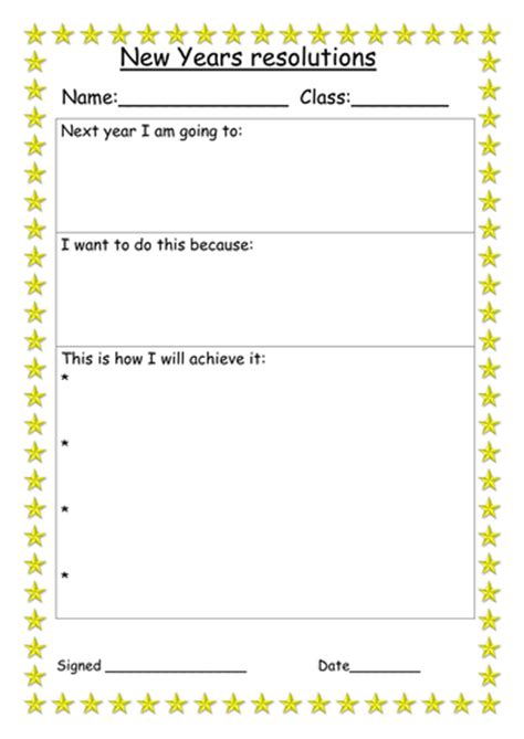 resolution plan template new years resolution and plan worksheet by miss