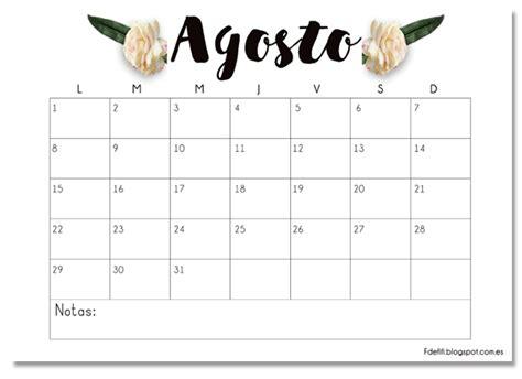 machote calendario 2016 calendario imprimible agosto descargable printable