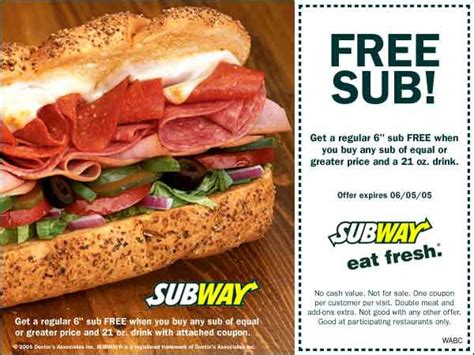 Buy Subway Gift Card Get Free Sub - subway buy one get one free printable coupon may be ny only