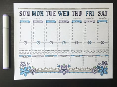 calendar journal template a4 printable planner page weekly calendar template bullet