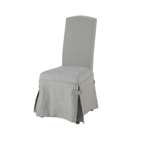 housse de chaise grise housse longue de chaise en grise maisons du monde