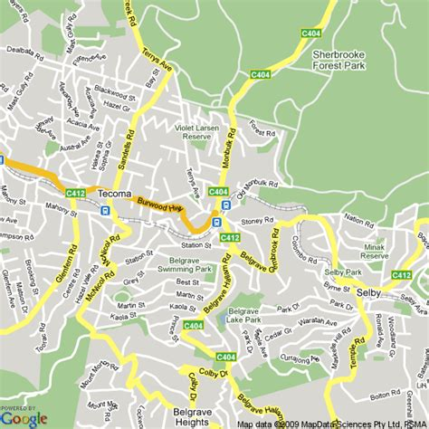 map  belgrave victoria hotels accommodation