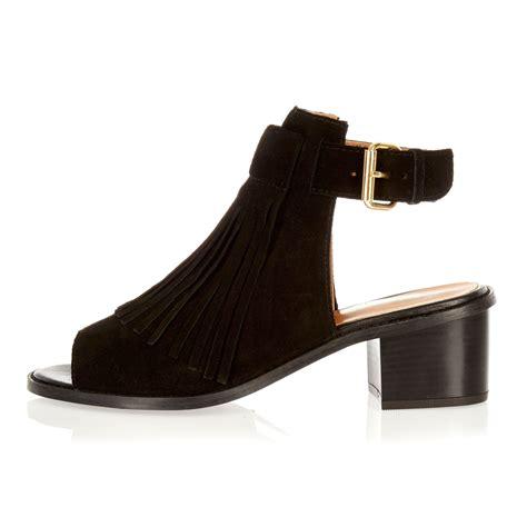 suede heeled sandals river island black suede fringed block heel sandals in