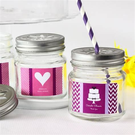jars with straws personalized jars with flower lids and straws