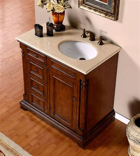 Pictures Of Bathroom Sinks And Vanities Silkroad 36 Inch Antique Single Sink Bathroom Vanity Marfil Marble Counter Top