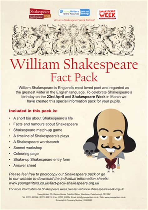 shakespeare biography quick facts william shakespeare fact pack for key stage 2 by