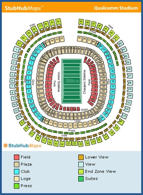 san diego charger seating chart qualcomm stadium seating chart pictures directions and