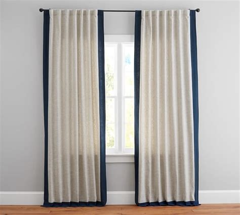 emery drapes emery frame border linen drape pottery barn