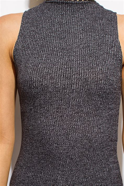 Mock Neck Midi Knit Dress shop charcoal gray ribbed knit mock neck sleeveless
