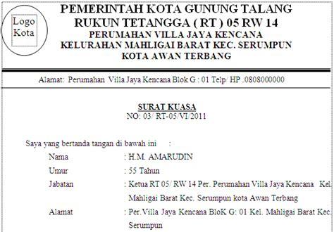 contoh surat kuasa mandat tugas dari rt kepada sekretaris
