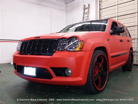 matte red jeep jeep grand cherokee srt8 wrapped in matte red 3m by dbx