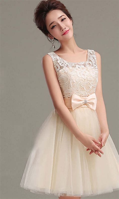 cute cheap short prom dresses cute beige retro bow knot short prom gown ksp348 ksp348