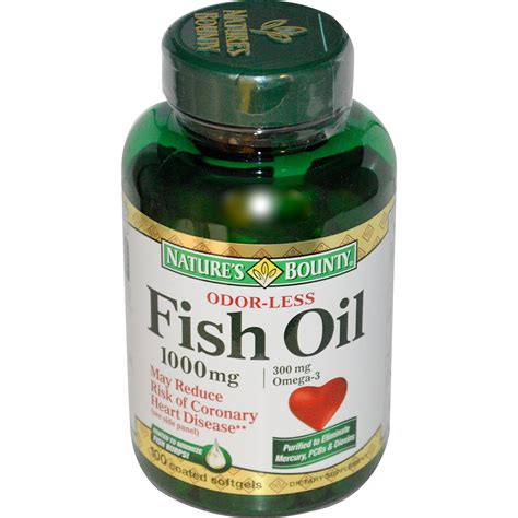 Nature's Bounty, Odorless Fish Oil Omega-3, 1000 mg, 100 ...