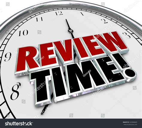 a for all time review review time words in 3d letters on a clock to remind