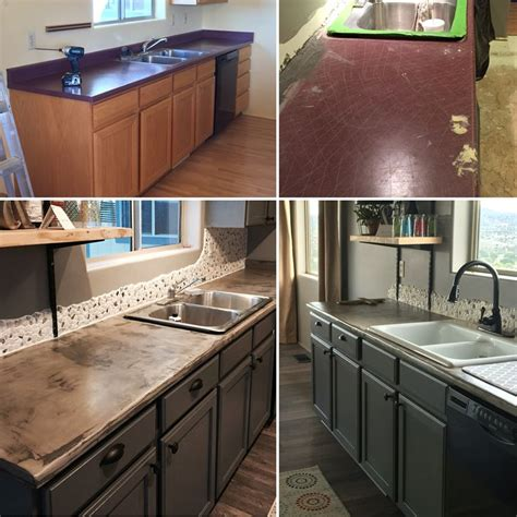 laminate countertops with oak cabinets painted the oak cabinets and then did concrete over the