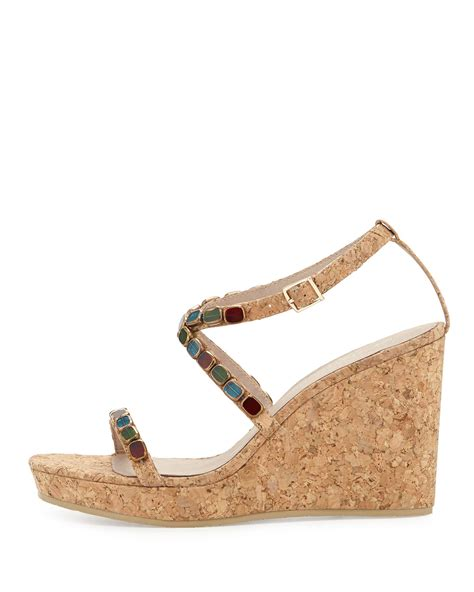 cork wedge sandal donald j pliner wondra jeweled cork wedge sandal in beige