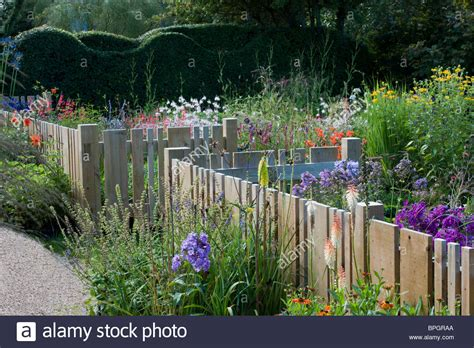 Flower Garden Fencing Small Garden Wooden Fence Fencing Varied Widths Flowling Stock Photo Royalty Free Image