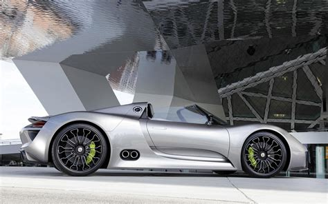 silver porsche spyder silver porsche 918 spyder side view hd desktop wallpaper