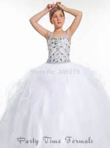 Straps white little girl long pageant dress for teens 2014 size 10 14