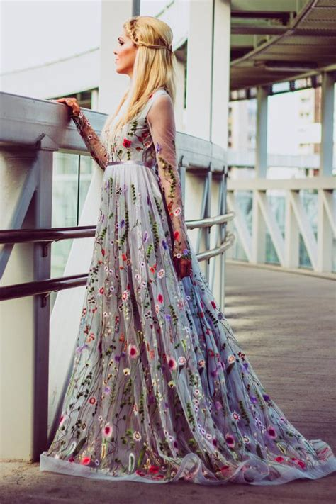 Wedding Gowns With Colored Embroidery by Flower Wedding Dress In Gray Color Wedding Dress With