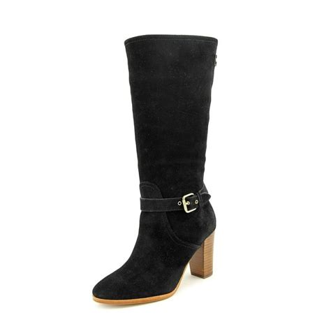 coach beverly suede black mid calf boot boots