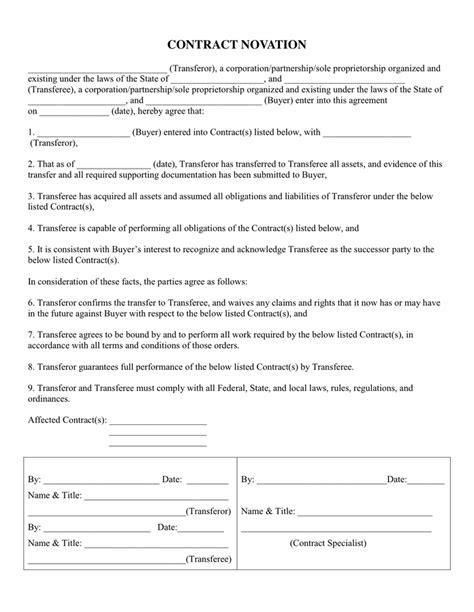 novation agreement   documents   word