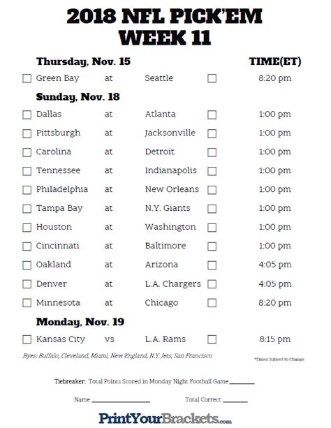Printable Nfl Team Schedules