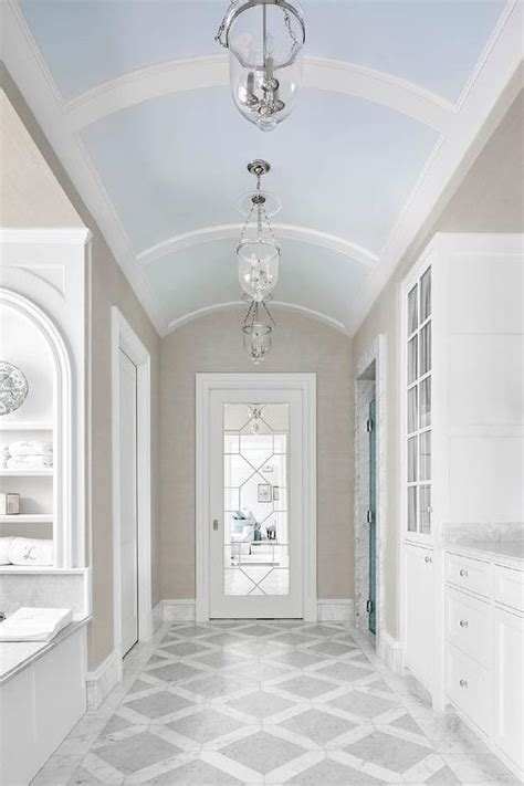 blue bathroom ceiling sky blue barrel bathroom ceiling transitional bathroom