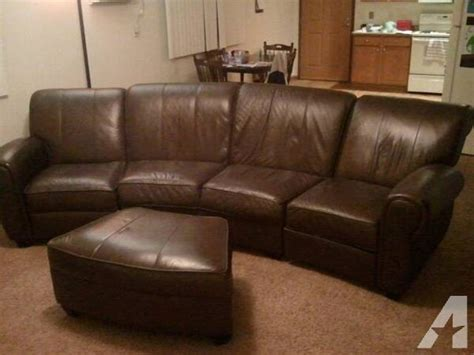 curved reclining leather sofa w ottoman for sale in