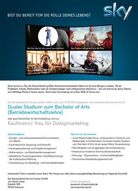 Bewerbung Sky Deutschland Sky Deutschland Service Center