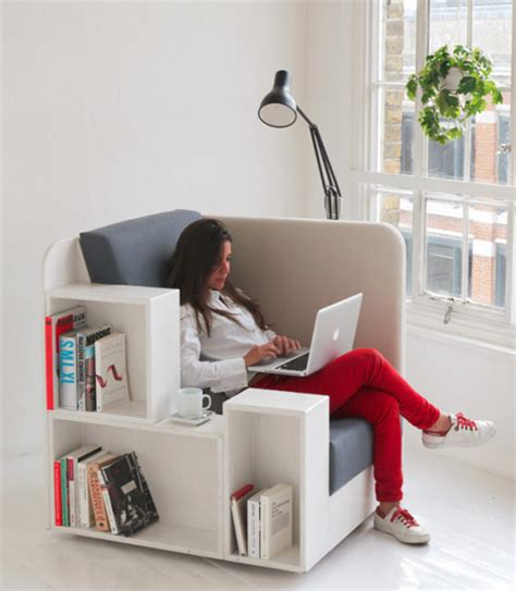 reading chair seat with built in book magazine shelves
