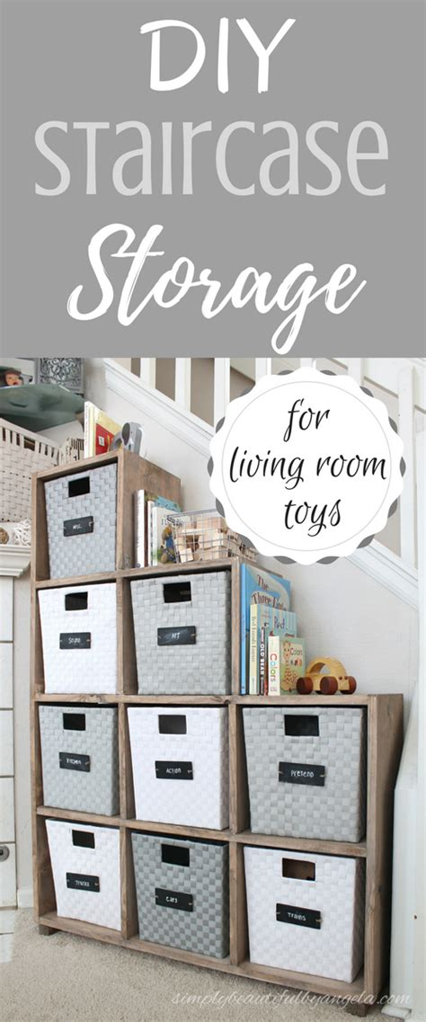 diy living room storage simply beautiful by angela diy staircase storage unit for living room toys