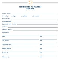 certificate of disposal template sle certificate of records disposal mtas more