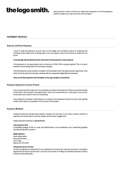 design proposal terms and conditions freelance logo design proposal and invoice template for
