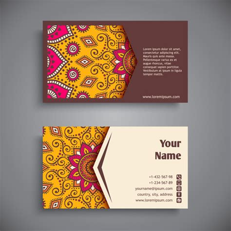 pattern of business card ethnic pattern with business cards vector 03 free download