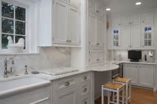 Galley Kitchen With Breakfast Bar - shaker cabinets white kitchen traditional with bar sink bin pulls beeyoutifullife com