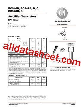transistor bc547 data bc548b datasheet pdf on semiconductor
