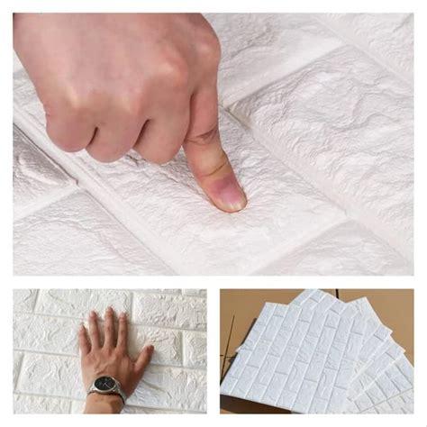 jual wallpaper foam  batu bata putih ukuran  cm