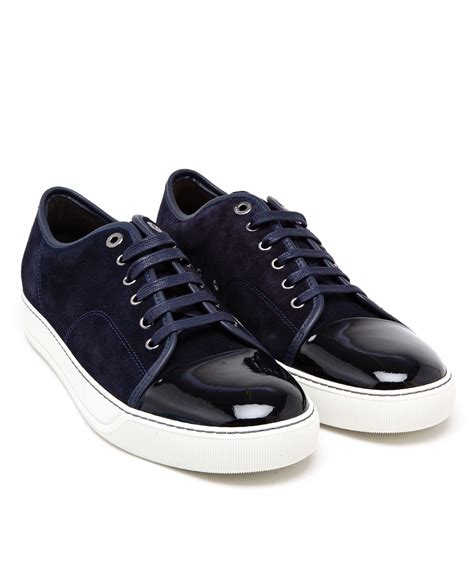 mens lanvin sneakers lanvin suede and patent leather sneakers in blue for