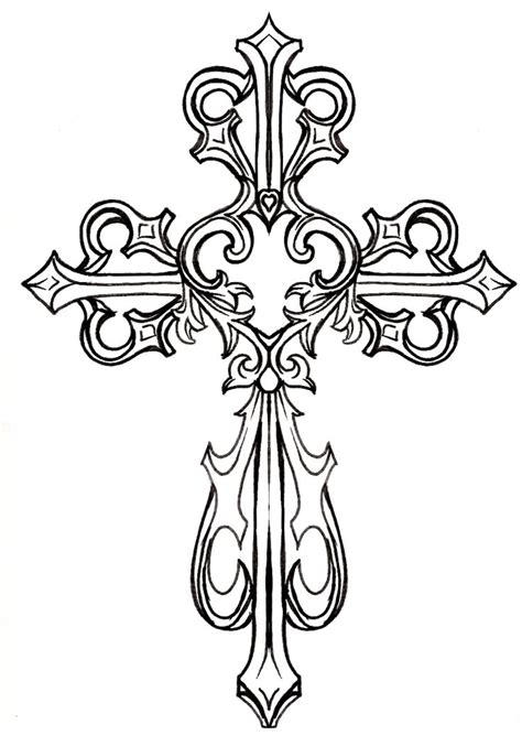 drawn cross ornamental pencil and in color drawn cross