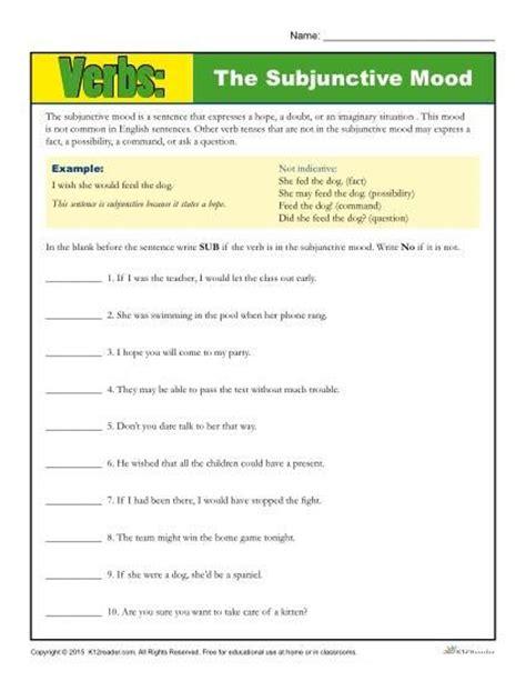 Identifying Tone And Mood Worksheet by The Subjunctive Mood Verb Worksheet Grammar Activities